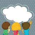 Kids watching the empty cloud template Royalty Free Stock Photo