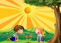 Kids watching over a flower illustration of Royalty Free Stock Photography