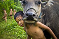 Kids and Water Buffalo Stock Image