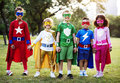 Kids Wear Superhero Costume Outdoors Royalty Free Stock Photo