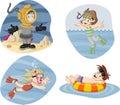Kids wearing scuba diving suit cartoon divers Stock Photos