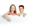 Kids with white board Royalty Free Stock Photo