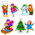 Kids in winter Stock Photos