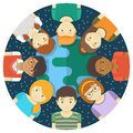 Kids of the world conceptual round illustration multiracial children on background earth and starry sky Stock Image