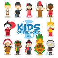 Kids of the world  illustration: Nationalities Set 2. Set of 12 characters dressed in different national costumes Royalty Free Stock Photo