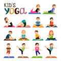 Kids yoga icons set