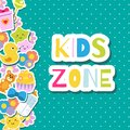Kids zone banner. Colorful border Frame background with children toys and symbols.