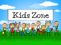 Kids Zone Banner Indicates Playing Playtime And Youngster Royalty Free Stock Photo