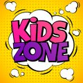 Kids zone. Child game playground labels with cartoon lettering. School children park area vector background