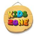 Kids Zone sign or banner. Children playground Vector illustration.