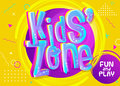 Kids Zone Vector Banner in Cartoon Style. Bright and Colorful Royalty Free Stock Photo