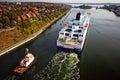 Kiel canal cruise tugboat and lock Royalty Free Stock Image