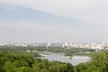 Kiev cityscape and dnieper river ukraine Stock Photos
