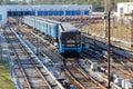 Kiev metro ukraine april the s train at the railway junction on the green line in ukraine Stock Image