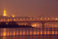 Kiev at night right bank skyline with lavra and paton bridge Royalty Free Stock Photo