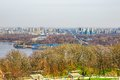 Kiev panorama of left bank of dnieper with metro bridge over dnieper in ukraine Stock Photos