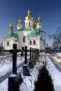 Kiev Pechersk Lavra churchyard in snow Stock Image