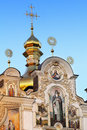 Kiev pechersk lavra detail golden domes of over the blue sky Royalty Free Stock Photography