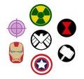 Set of Avengers Marvel logos