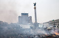 Kiev ukraine february mass anti government protests in the center of chaos and devastation on independence square after a Royalty Free Stock Image