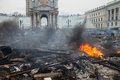 Kiev ukraine february mass anti government protests in the center of destroyed barricades on independence square after a Royalty Free Stock Images