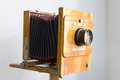 KIEV, UKRAINE - JULY 5, 2016. Vintage box camera with a wooden body in Heritage Museum. Royalty Free Stock Photo