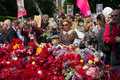 Kiev, Ukraine - May 09, 2016: Participants of the action Immortal regiment with portraits of dead relatives - soldiers Royalty Free Stock Photo