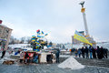 Kiev ukraine people feel cold but stand with national flags on the main street of capital during anti government protest Stock Photography