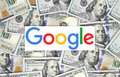 Google logo printed on paper and put on money background