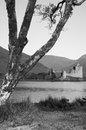 Kilchurn castle black and white picture of the in the middle of scotland Royalty Free Stock Photos
