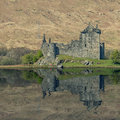 Kilchurn castle reflected in loch awe scotland Royalty Free Stock Image