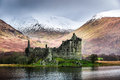 Kilchurn castle in winter scotland Royalty Free Stock Photo