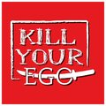 Kill your ego with sword vector design on the red background