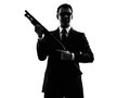 Killer man silhouette one caucasian in on white background Stock Images