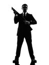 Killer man silhouette one caucasian in on white background Royalty Free Stock Image