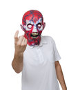 Killer with a mask halloween disguise man wearing scary and pointing his finger to join Royalty Free Stock Photo