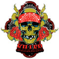 Killer skull vector illustration ideal for printing on apparel clothes Stock Photo