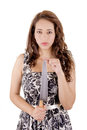 Killer woman in dress with a knife this image has attached release Stock Images