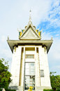 The killing fields of choeung ek memorial stupa containing some khmer rouge victims remains phnom penh cambodia Stock Image