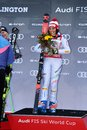Federica Brignone of Italy takes 1st place during the Audi FIS Alpine Ski World Cup Women`s Giant Slalom Royalty Free Stock Photo