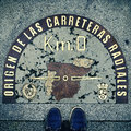 Kilometre Zero point in Puerta del Sol, Madrid, Spain, with a re Royalty Free Stock Photo