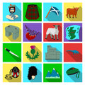 Kilt, bagpipes, thistles are national subjects of Scotland. Scotland set collection icons in flat style vector symbol
