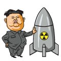 Kim Joung-un with Nuclear Missile Cartoon Vector Illustration