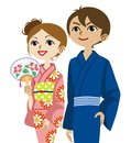 Kimono couple looking up vector illustration of Stock Photos