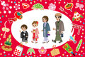 Kimono family and japanese good luck charms vector illustration of Royalty Free Stock Images