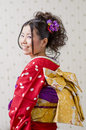 Kimono japanese woman dressed in a Royalty Free Stock Photos