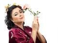 Kimono woman with pink rose beautiful holding on white background Royalty Free Stock Image