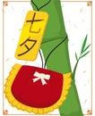 Kinchaku and Label Hanging in a Bamboo Branch for Tanabata, Vector Illustration