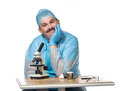Kind doctor with microscope Royalty Free Stock Photos