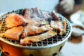 This kind of food is a Korean BBQ; Beef and Pork grill on hot co Royalty Free Stock Photo
